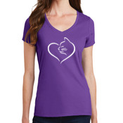 Cat Heart Ladies V-neck T-shirt